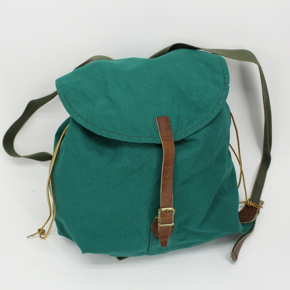 Vintage Handbags - Vintage Green Canvas Backpack